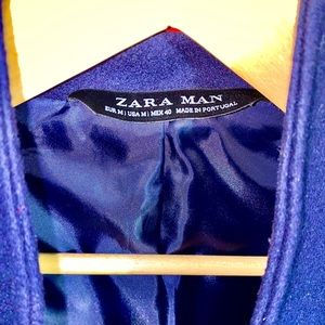 Zara Men's Navy Wool Coat